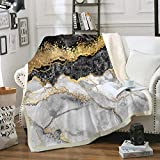 Bedbay Marble Blanket Black Grey Gold Marble Texture Sherpa Fleece Blanket Boho Marble Abstract Pattern Soft Warm Blanket for Bedroom Couch Sofa (01, Throw(50'x60'))