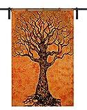 Tapiz con diseño de árbol de la vida, medallón de hippie-medallón y márrocano-indio-mandala, para colgar en la pared, cortinas indias, mandala, ventana doble tamaño: 125 cm x 208 cm