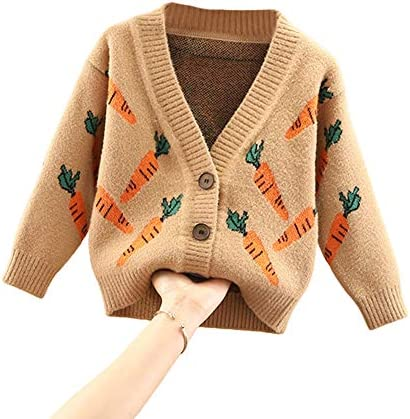 Toddler Baby Boy Girl Sweater Autumn Knitted V Neck Cardigan Carrot Print Warm Sweatshirt Outwear product image