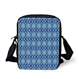 LULABE Arabian,Traditional Ornate Abesque Islamic Floral Pattern with Soft Pastel Colors Eastern,Multicolor Print Kids Crossbody Messenger Bag Purse