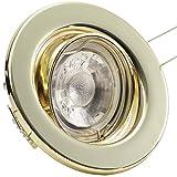 3er Set (3-8er Sets) Einbaustrahler DECORA; 230V; COB LED 3W = 40W; Warm-Weiß; GOLD MESSING; schwenkbar, Leuchtmittel austauschbar; Einbauleuchte Einbauspot Downlight