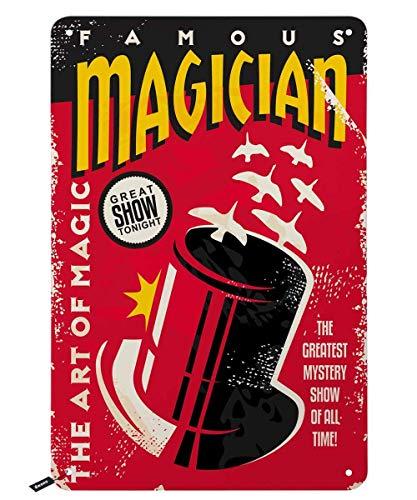 2013 Letreros de lata de famoso mago, The Art of Magic on The Red Background Vintage Metal Tin Sign para hombres y mujeres, decoración de pared para bares, restaurantes, cafeterías, pubs, 30 x 20 cm