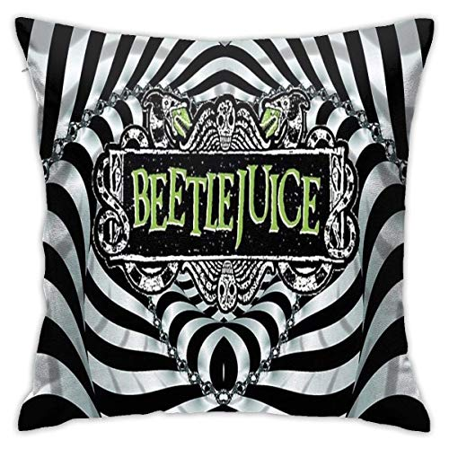Beetlejuice The Musical Throw Pillow Cover Home Decoration Soft Square Throw Pillow Case Cushion Covers for Bed Couch Sofa Farmhouse Both Sides (18'x18')