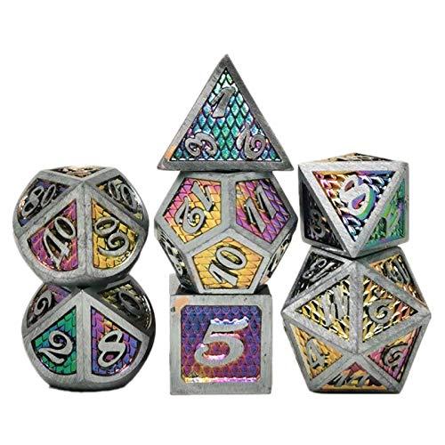 Wusuowei 7pcs/Set Metal Dice Set RPG MTG DND Metal Polyhedral Dice Role Playing Games
