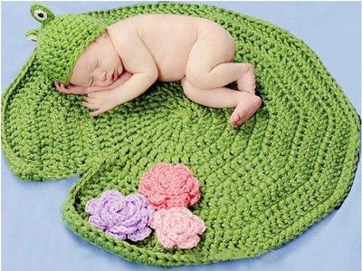 PEPEL Lotus Leaf Kikker baby fotografie rekwisieten kostuum muts en deken