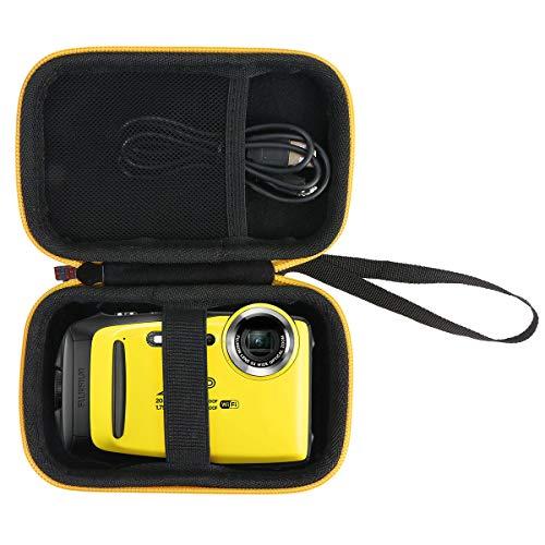 Khanka Eva Custodia Rigida da Viaggio per Fujifilm FinePix XP140 - Fotocamera digitale impermeabile. (Cerniera gialla)