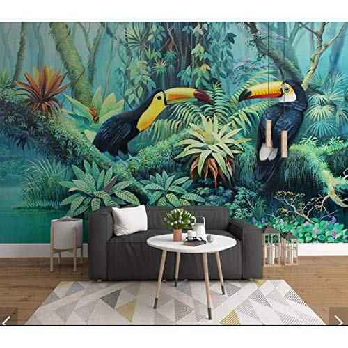 Toucan Tropical Leaves Wall Mural,Wallpaper for Bedroom Wall Art Decor Murals,Wall Paper Rolls 3D Wallpaper Waterproof 208 cm (W) x 146 cm (H)