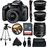 Canon EOS 4000D DSLR Camera with 18-55mm f/3.5-5.6 III Lens + 50-Inch Tripod + Pixi...