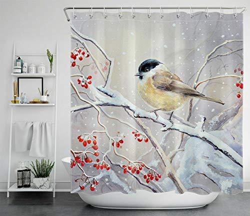 Weihnachtsschneeflocke süßes Rotkehlchen Vogel rote Beere Duschvorhang für Badezimmer,wasserdichtes & schnelltrocknendes Polyester,hochauflösendes Muster,12Haken,183x183cm