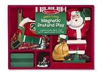 Melissa & Doug サンタクロース ごっこ遊び - マグネット式ドレスアップ木製ドール&スタンド&スクラッチアートミニパッド1セット (03551)