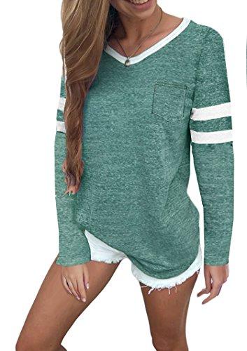 Ehpow Damen Kurzarm T-Shirt V-Ausschnitt Casual Sommer Lose Shirt Oversize Oberteile (XX-Large, Y-grün)