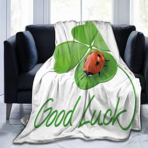 DHNKW Flannel Blanket Lightweight Super Soft,Lucky Symbols Four Leaf Clover With Ladybug Irish Charm Good Luck,Blanket With Soft Anti-pilling Flannel For Adults & Kids 3D Print 50'x40'