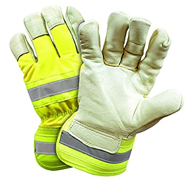 West Chester HVY5555 High-Visibility Yellow Grain Pigskin Leather Palm Positherm Lined Gloves
