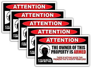 5 Pack of Owner is Armed Warning Stickers 2nd Amendment Decals Anti-Theft Security Burglar Alarm