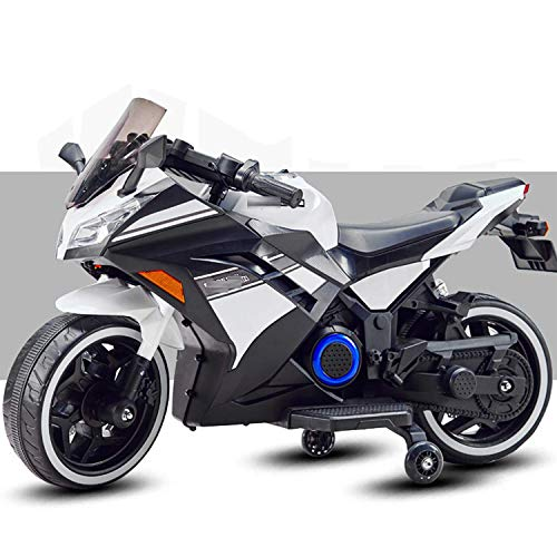 SBToys Officially Electric Ride on Battery Operated Bike for Kids 2-7 Years with 12V Battery Kids self Driven Bike. (White)