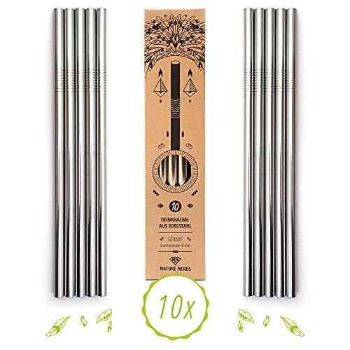 Nature Nerds - cannucce riutilizzabili in acciaio inossidabile - cannucce per bere (10 pezzi + spazzola per la pulizia) - senza plastica