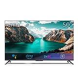 CHiQ 50 Zoll Fernseher Freihändige Sprachsteuerung Rahmenloser Smart TV,4K UHD,HDR 10,Dolby Vision,Dolby Audio,Funktioniert mit Alexa,Google Assistant,64-bit Quad Core,HDMI2.0,Version 2021
