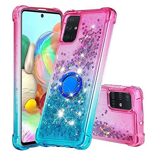 WJMWF Compatible con Funda Samsung Galaxy A71 4G con Anillo Quicksand Glitter Serie de Degradado de Color Suave TPU Silicona Bumper Antigolpes Caso Rosa Arriba y Azul Abajo