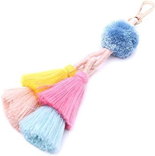 Tassel Pom Pom Key Chain Colorful Boho Charm Key Ring, Fashion Accessories for Women