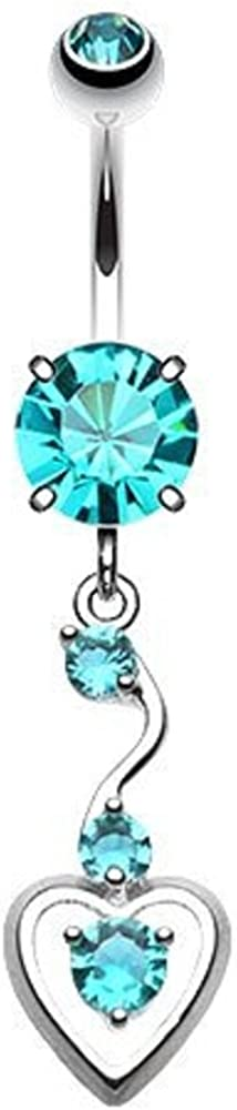 WildKlass Jewelry Dainty Dangled Heart 316L Surgical Steel Belly Button Ring