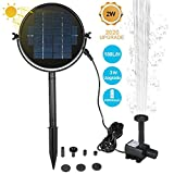 2W Solar Pump Fountain for Bird Bath,190L/H Upgrade Solar Water Pump with Stake,Outdoor