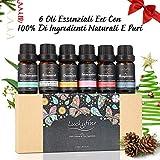 Set di oli essenziali, set regalo di olio per aromaterapia Premium Luckyfine, kit olio di qualità terapeutica Premium dei 6 oli di alta qualità- Breathe, immunità, rinfrescante