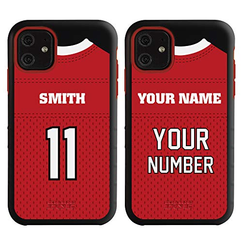 Custom Football Jersey Phone Case for iPhone 11 by Guard Dog - Personalized Sports - Your Name and Number on a Protective Hybrid Phone Case (Black, Red)