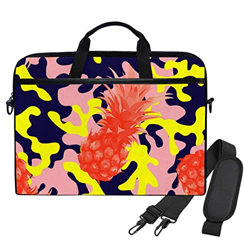 15.6 Inch Laptop Case Camo Military Pink Yellow Tropical Pineapple Laptop Shoulder Bag Carrying Case 15.6 Inch with Strap