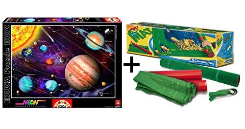 Outletdelocio Pack Puzzle Educa 14461. Sistema Solar en Neon (Brilla en la Oscuridad). 1000 Piezas + Tapete Universal Puzzle Roll Clementoni 30297