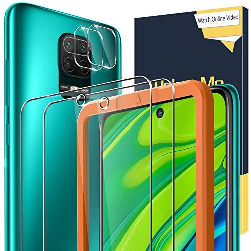 UniqueMe [2+2 Pezzi] Vetro Temperato +Pellicola Fotocamera per Xiaomi Redmi Note 9s / Note 9 PRO/Note 9 PRO Max Pellicola Vetro con Un Perfetto Servizio Post-Vendita.