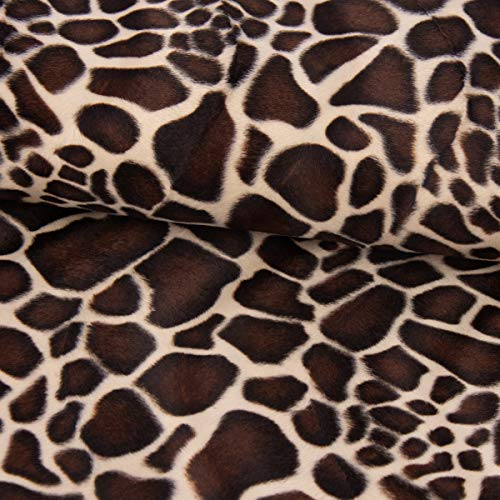 SCHÖNER LEBEN. Velours Fellimitat Kunstfell Giraffe beige braun 1,5m Breite