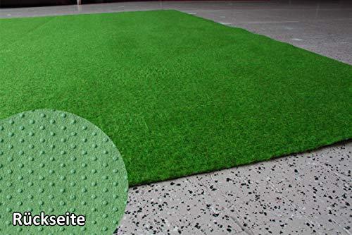 Rasenteppich Kunstrasen Standard grün Velours Weich Meterware, verschiedene Größen, mit Drainage-Noppen, wasserdurchlässig (500x400 cm)