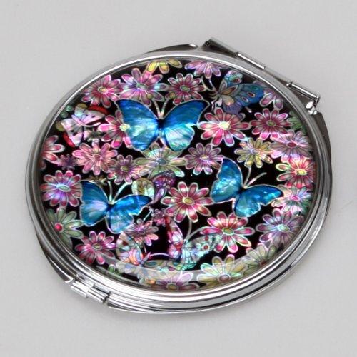 Moeder van parel blauwe vlinder dubbele compacte cosmetische make-up portemonnee spiegel