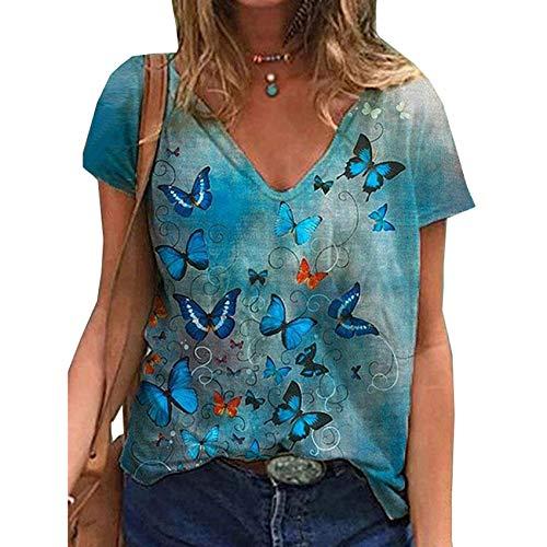 Camiseta Casual De Manga Corta con Cuello En V Y Estampado De Mariposas para Mujer De Verano