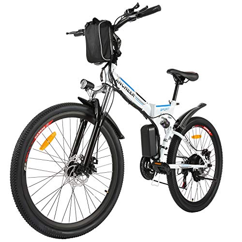 ANCHEER 26'' Electric Mountain Bike, 250W Electric Bicycle with Removable 36V 8AH Lithium-Ion Battery for Adults, 21 Speed Shifter (Spoting_White)