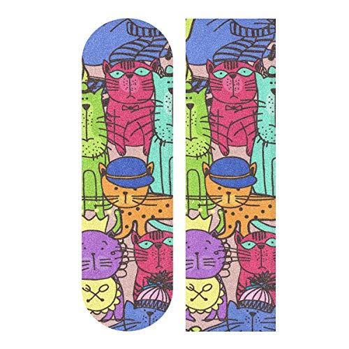MNSRUU Skateboard-Griffband mit Katzen-Muster, für Roller, Deck, Sandpapier, 22,9 x 83,8 cm