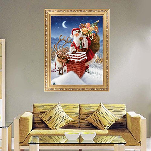 LAYs Santa Claus Deer 5D Diamond Painting 5D Diamond Painting Cross Stitch Kit for Christmas Home Decor