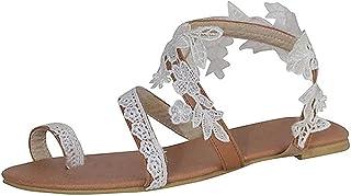 HUANGA Sandales plates pour femmes à bout ouvert sandales à anneau de fleur en dentelle sandales à bascule chaussures de m...