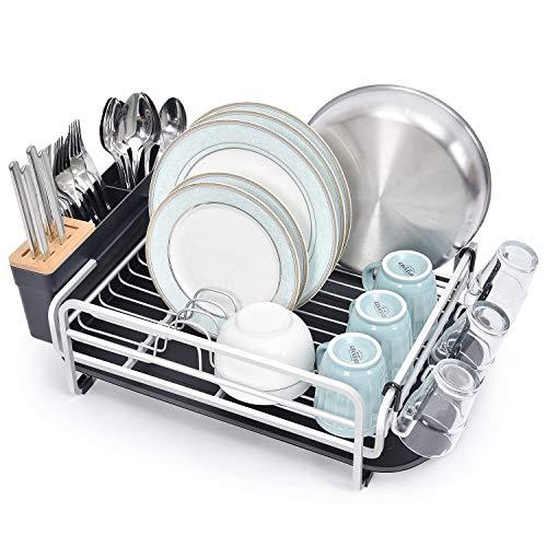 Escurreplatos de aluminio de Kingrack, estante grande para secar platos, con bandeja de goteo extraíble, soporte para cubiertos extraíble y soporte de cristal, escurreplatos para cocina UK-DY-WK111913