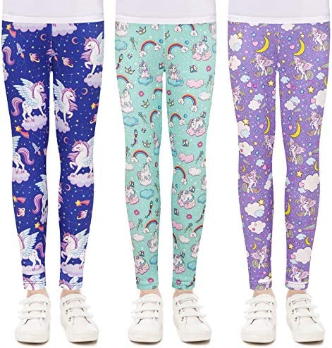 Quedoris Girls 3 Pack Printed Leggings Unicorn Kingdom Sky Galaxy Unicorn 140Y product image