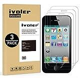 ivoler [3 Unidades] Protector de Pantalla para iPhone 4S / iPhone 4, Cristal Vidrio Templado Premium
