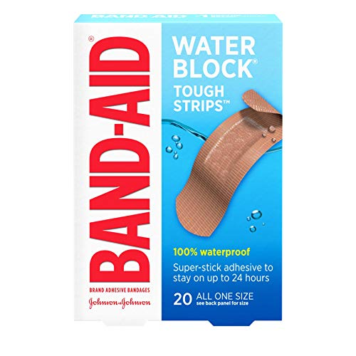 Band-Aid Brand Water Block Waterproof Tough Adhesive Bandages for Minor Cuts and Scrapes, All One Size, 20 ct