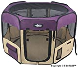 EliteField 2-Door Soft Pet Playpen, Exercise Pen, Multiple Sizes and Colors Available for Dogs, Cats and Other Pets (48' x 48' x 32'H, Purple+Beige)