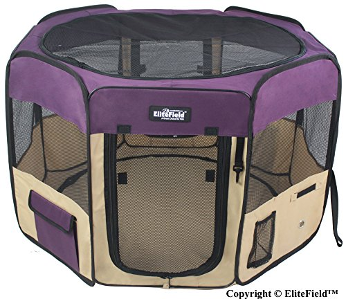 "EliteField 2-Door Soft Pet Playpen, Exercise Pen, Multiple Sizes and Colors Available for Dogs, Cats and Other Pets (36"" x 36"" x 24""H, Purple+Beige)"