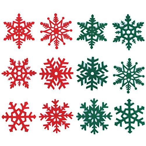 24 sottobicchieri natalizi, fiocchi di neve, in feltro, tazze da caffè, vino, tè, antiscivolo, resistenti al calore, per feste di Natale, vacanze, matrimoni, forniture per la casa (6 stili)