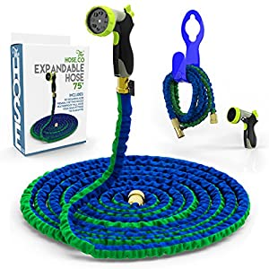 Expanding Garden Hose Kit: Green, Blue Double Latex KinkProof Long-Lasting 75 ft Hose, Copper Fittings, 8 Function Nozzle & Bonus Wall Hook