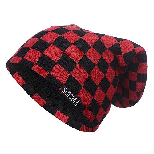 Sen.se SENSE42Beanie Lungo Motivo a Quadri Unisex Lungo Berretto Invernale Cappello Taglia Unica Unisex Rosso Red