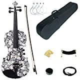 Kinglos 4/4 Black White Skull Colored Solid Wood Acoustic / Electric Violin Kit with Ebony Fittings Full Size (YSDS1312)