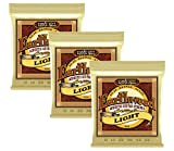 Ernie Ball 2004x3 Earthwood 80/20 Bronze Light Acoustic Strings, Set of 3 Pieces