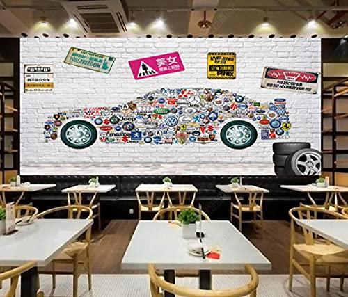 Papel pintado pared dormitorio Papel pintado mural 3d del logotipo del coche Adesivos paredes decoración -450cmx300cm